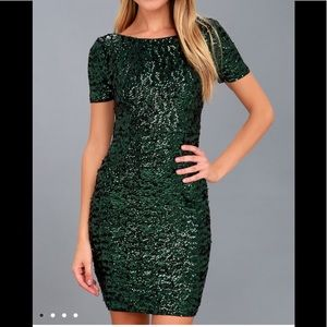 Dark Green Sequin Bodycon Dress